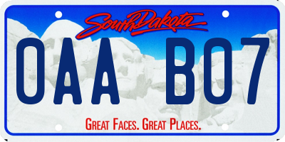 SD license plate 0AAB07