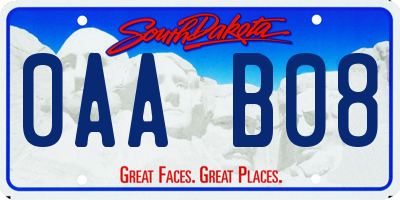 SD license plate 0AAB08
