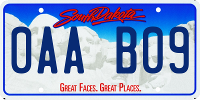 SD license plate 0AAB09