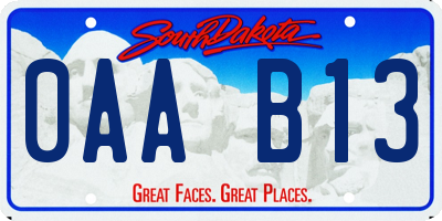 SD license plate 0AAB13