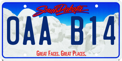 SD license plate 0AAB14