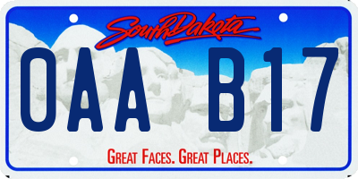 SD license plate 0AAB17