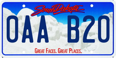 SD license plate 0AAB20
