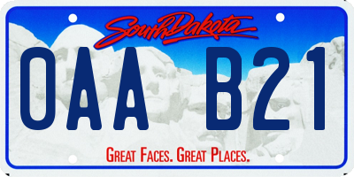 SD license plate 0AAB21