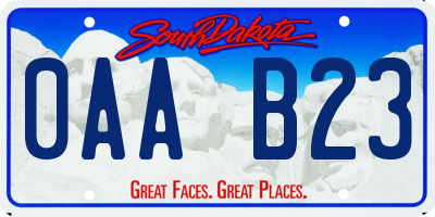 SD license plate 0AAB23