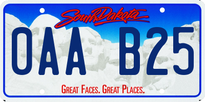 SD license plate 0AAB25