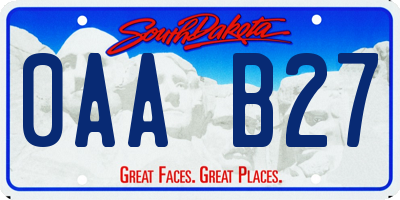 SD license plate 0AAB27