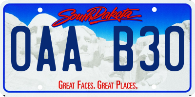 SD license plate 0AAB30