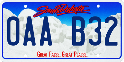 SD license plate 0AAB32