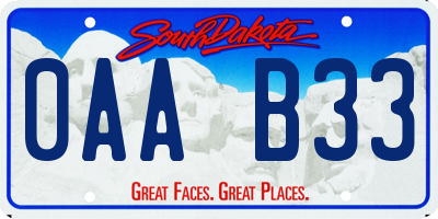 SD license plate 0AAB33