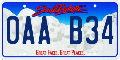 SD license plate 0AAB34