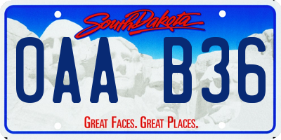 SD license plate 0AAB36