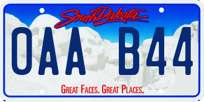 SD license plate 0AAB44