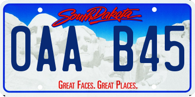SD license plate 0AAB45