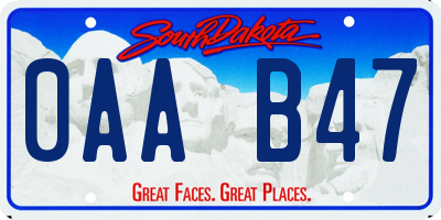 SD license plate 0AAB47