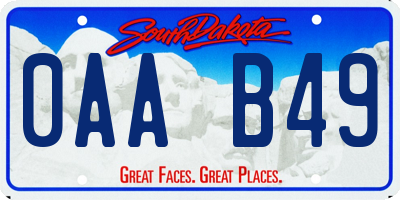 SD license plate 0AAB49