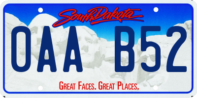 SD license plate 0AAB52