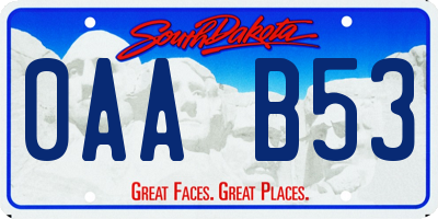 SD license plate 0AAB53