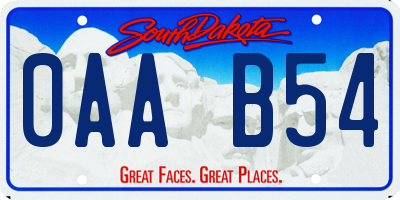 SD license plate 0AAB54