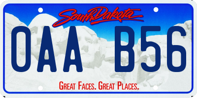 SD license plate 0AAB56