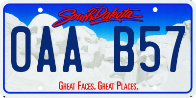 SD license plate 0AAB57