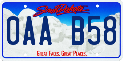 SD license plate 0AAB58