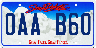 SD license plate 0AAB60