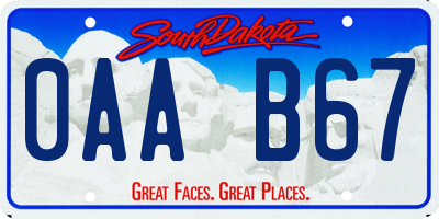 SD license plate 0AAB67