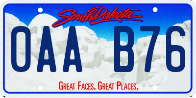 SD license plate 0AAB76