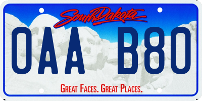 SD license plate 0AAB80