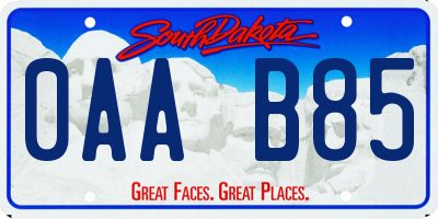 SD license plate 0AAB85