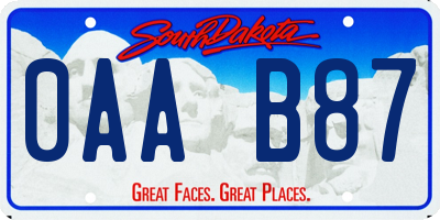 SD license plate 0AAB87