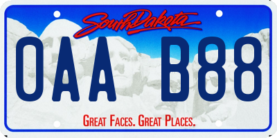 SD license plate 0AAB88