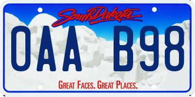 SD license plate 0AAB98