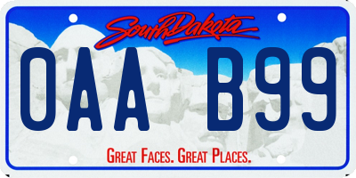 SD license plate 0AAB99