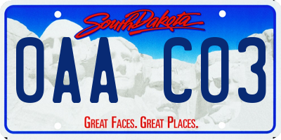 SD license plate 0AAC03
