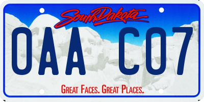 SD license plate 0AAC07