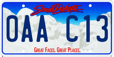 SD license plate 0AAC13