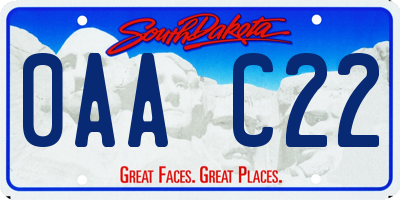 SD license plate 0AAC22