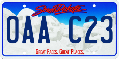 SD license plate 0AAC23