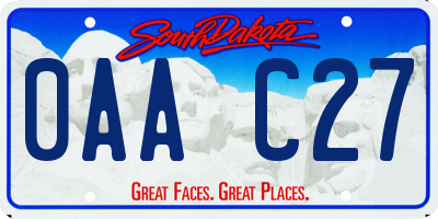 SD license plate 0AAC27