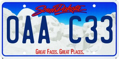 SD license plate 0AAC33