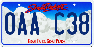 SD license plate 0AAC38