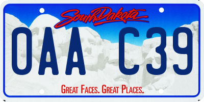 SD license plate 0AAC39