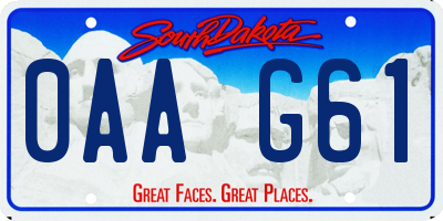SD license plate 0AAG61