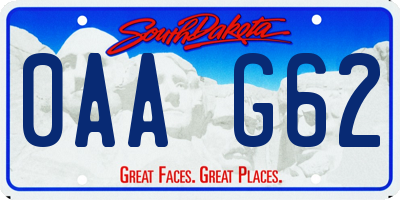 SD license plate 0AAG62