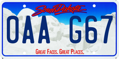 SD license plate 0AAG67