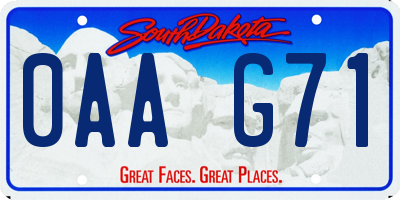 SD license plate 0AAG71