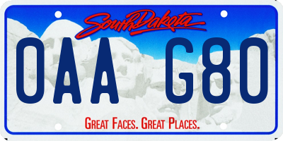 SD license plate 0AAG80