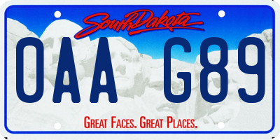 SD license plate 0AAG89